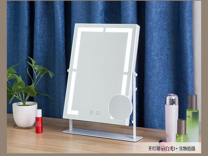 Illuminated Magnifying LED Desktop Mirror With Light , Square Led Mirror