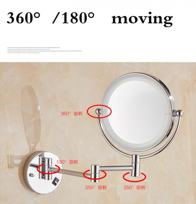 Double Sided LED Mirror Tri Fold Backlit Vanity Wall Mirror Round Shape