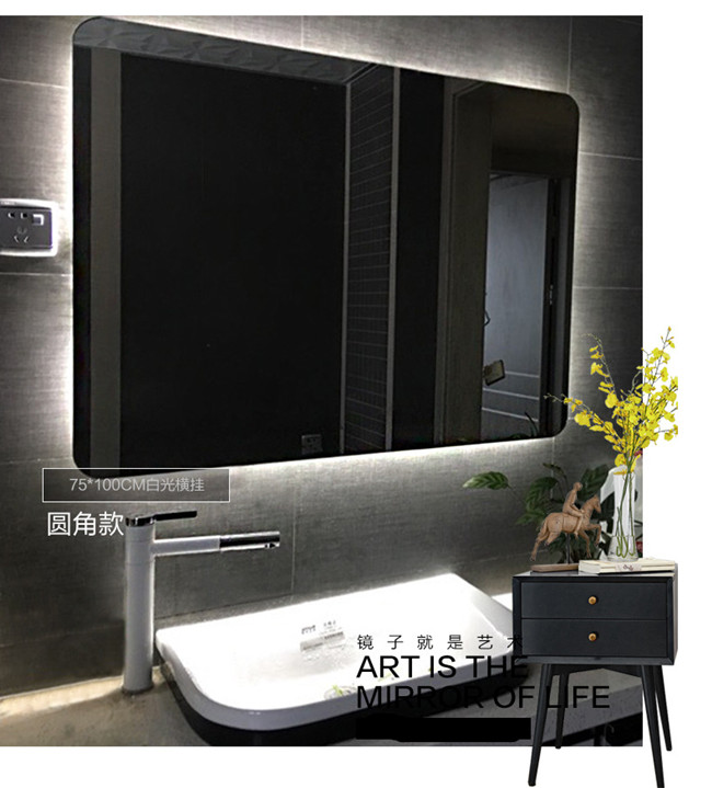 Hotel Smart LED Bathroom Mirror With Radio Wall Hanging Square Frameless Vanity Mirror