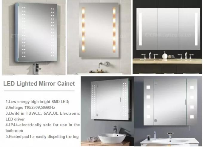 500mm Small Bathroom LED Mirror Cabinet Sets Grey And White Wall Hanging
