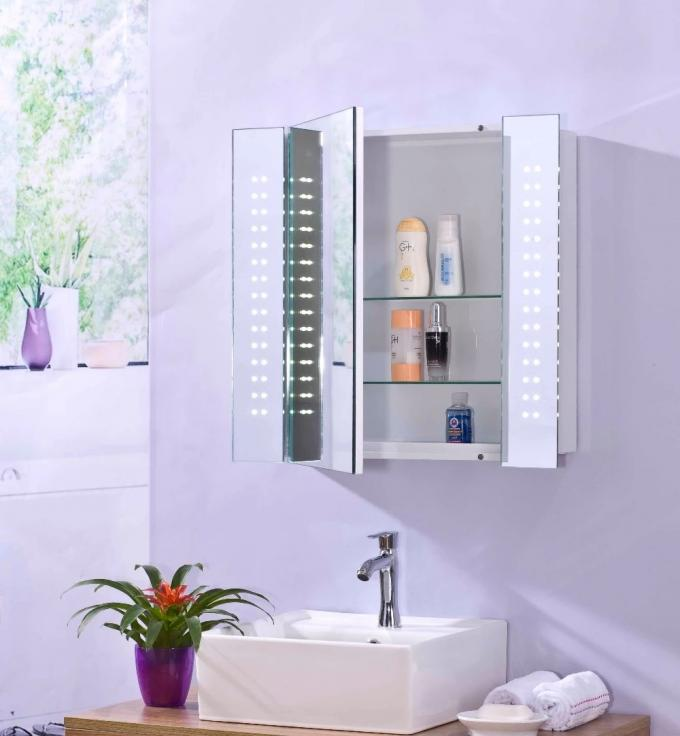 Stainless Steel Backlit Bathroom Mirror Cabinet / Bathroom Wall Cabinet