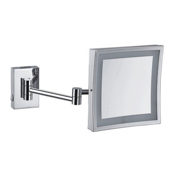 Square Hotel Magnifying Led Bathroom Wall Mirror With Stainless Steel Frame