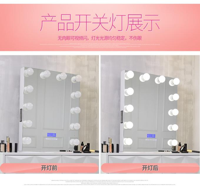 Hollywood Style Led MakeUp Mirror With Lights Bulbs / Clock , Led Light Portable Mirror