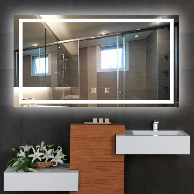 5mm Silvery LED Bathroom Mirror With Radio / Bluetooth Touch Screen