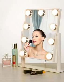 Beauty Hollywood Glamour Vanity Mirror With 9 LED Lights Adjustable Countertop 360 Rotating