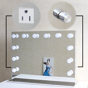 Hollywood Style Vanity Led MakeUp Mirror With 10 Dimmable LED Light Bulbs And Flexible Strip