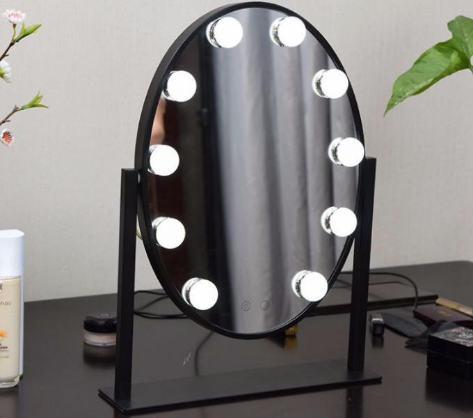 Professional Cosmetic Led MakeUp Mirror With Round Border 10 LED Bulbs