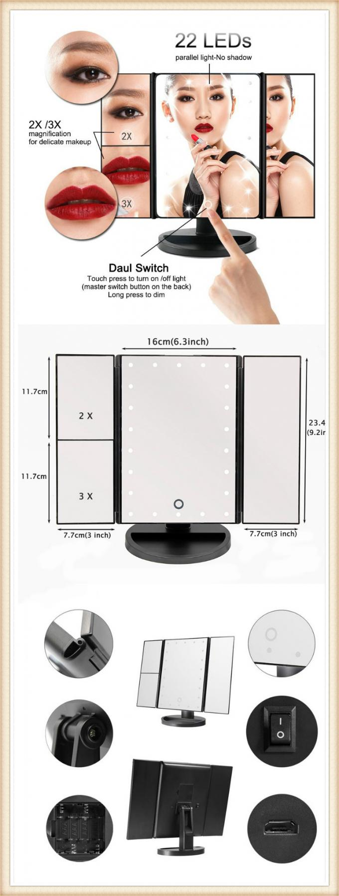 Make Up Tri Fold Vanity Mirror With Lights 21Pcs 180 Degree Free Rotation