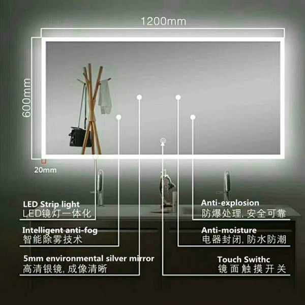 STRIP LIGHT Illuminated Bathroom Mirrors With Bluetooth , Audio Bathroom Mirror
