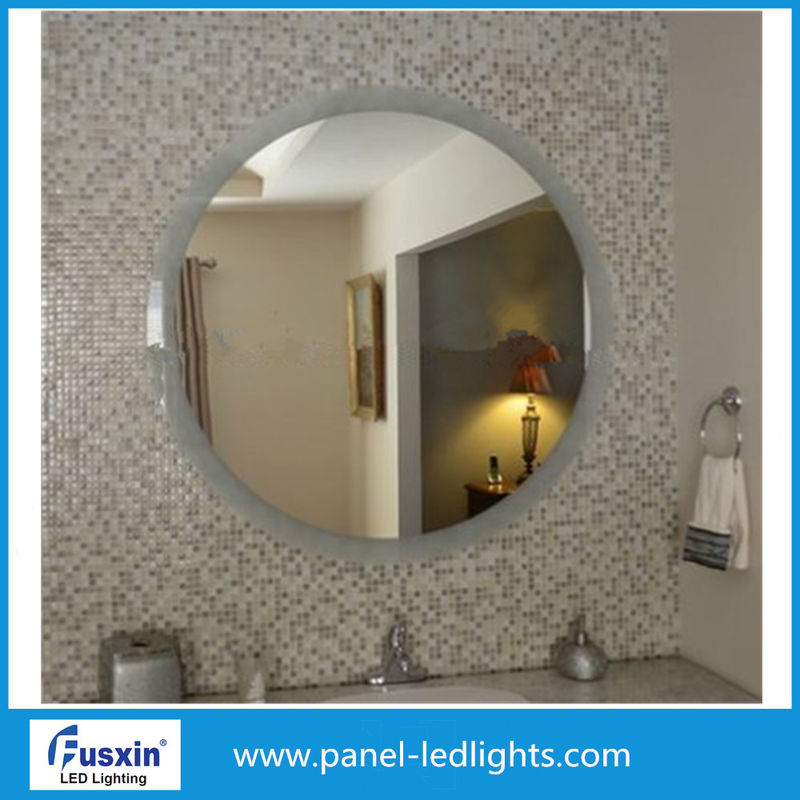 High Effiency Glass Round Bathroom Mirror With Lights , Circular Oval Backlit Mirror