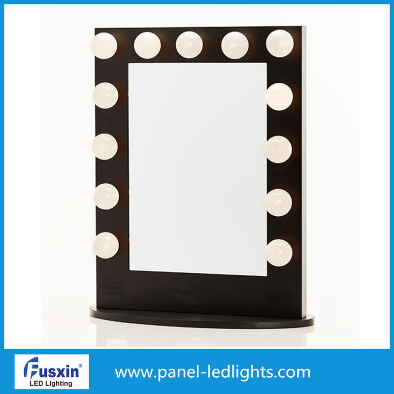 White Aluminum Tabletop Makeup Mirror With Lights IP67 With Light Bulbs