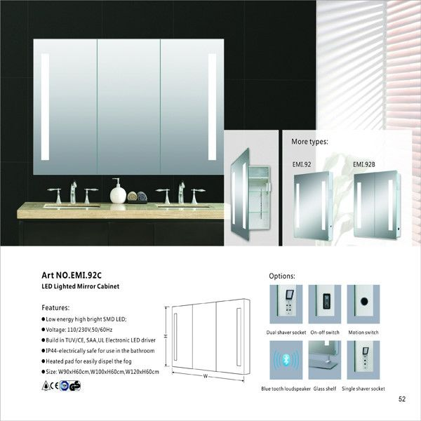 Recessed Medicine Aluminum LED Mirror Cabinet Mail Box Packing