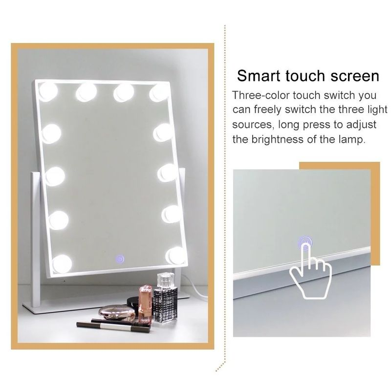 Smart Touch Screen Desktop Lighted Tabletop Vanity Mirror With Bulbs Around