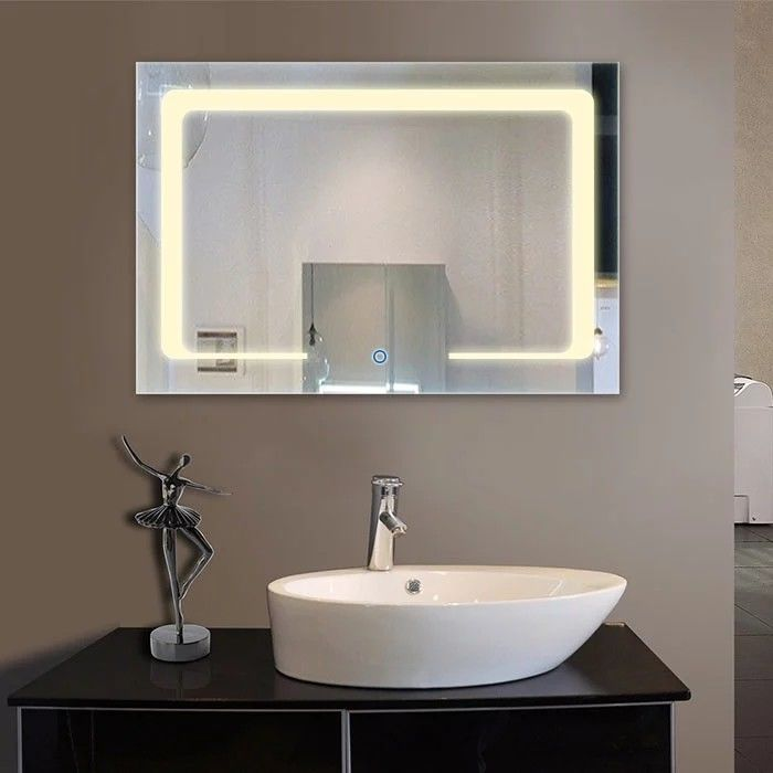 Luxury Hotel Modern Bathroom Mirrors With Led Lights Anti Frog