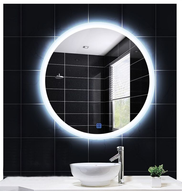 Environmental Wall Round Illuminated Bathroom Mirror / Modern Vanity Mirror With Lights