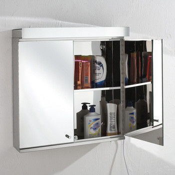 Illuminated Wall Mounted Bathroom LED Mirror Cabinet Stainless Steel Frame