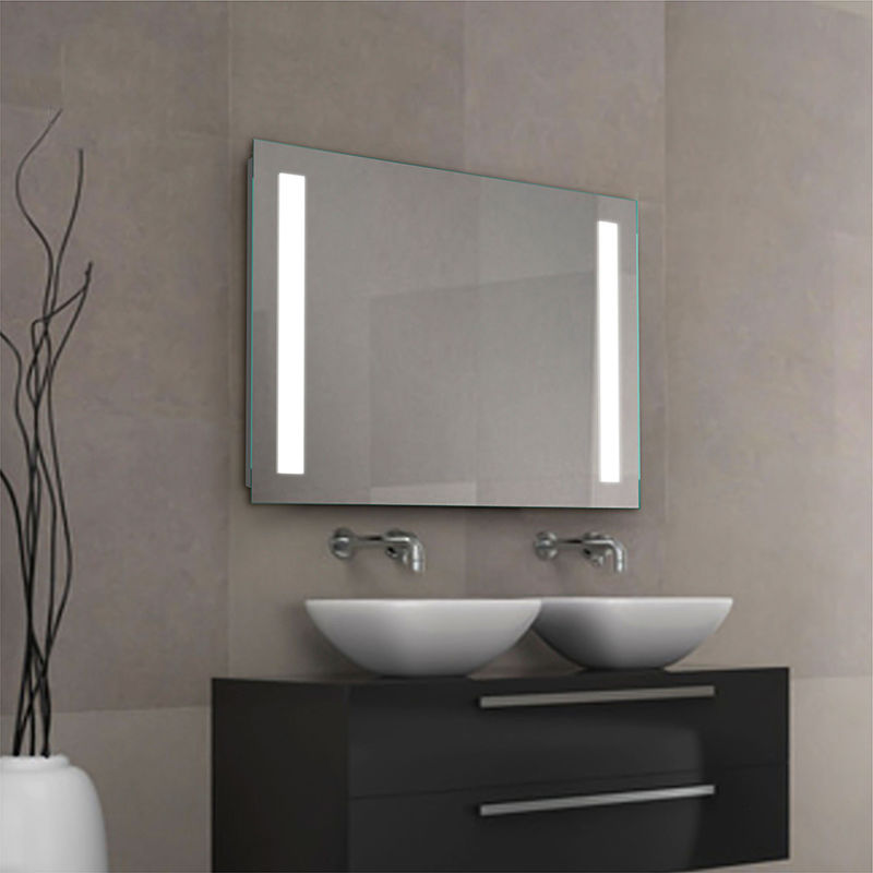 LED Bathroom backlit Mirror with shelf 2018 new steel glass shelf light mirror