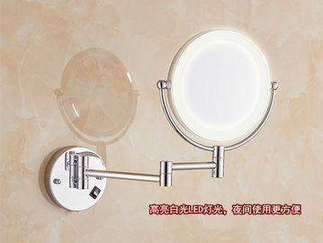 China Double Sided LED Mirror Tri Fold Backlit Vanity Wall Mirror Round Shape factory
