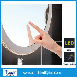 China Oval Smart Tocuch Switch LED Strip Mirror For Cosmetic Round Illuminated Bathroom Mirror factory