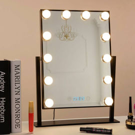 China Desk Square Vanity Makeup Mirror With Light Bulbs , Portable Light Up Mirror factory
