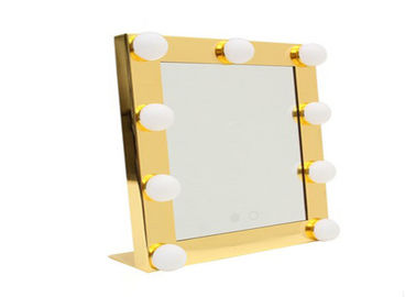 China Square Cosmetic Portable Illuminated Makeup Mirror With 9 Light Bulb , Led Tabletop Mirror factory