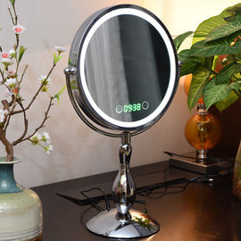 Metal Double Sided Rotatable Led MakeUp Mirror Iron With Chrome Plated