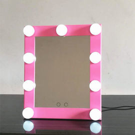 China Adjustable Brightness Sqaure Round Lighted Makeup Mirror With Dimmer Stage factory