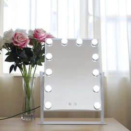 China Large Desktop Square Led MakeUp Mirror For Dressing Led Light Bulb Mirror factory
