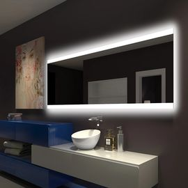 China Illuminated Square LED Bathroom Mirror With Radio Backlit Lighted Vanity Mirror Wall Mount factory