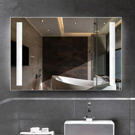 China OEM Service Frameless Anti Fog Bathroom Mirror With Sandblasting Strips For Putting factory