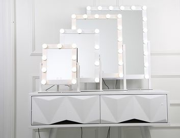 China Salon Led Bluetooth Speaker Makeup Mirror 40x50cm Light Up Cosmetic Mirror factory