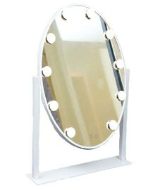 Desktop Round Lighted Makeup Mirror Single Sided Illuminated Cosmetic Mirror