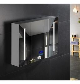 China Commercial Illuminated Bathroom Mirror Cabinet Single Door Stainless Steel Mirror Cabinet factory