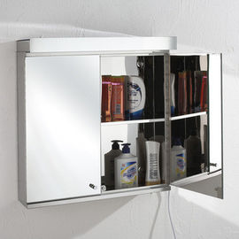 China Illuminated Wall Mounted Bathroom LED Mirror Cabinet Stainless Steel Frame factory