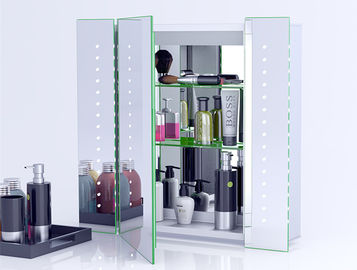 China Illuminated Bathroom Mirror Cabinet With Lights And Shaver Socket Wall Mounted factory