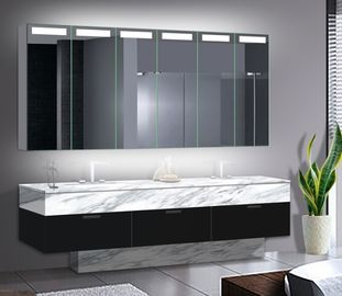 China Big Size LED Mirror Cabinet With Aluminum Body / Stainless Steel Optional factory